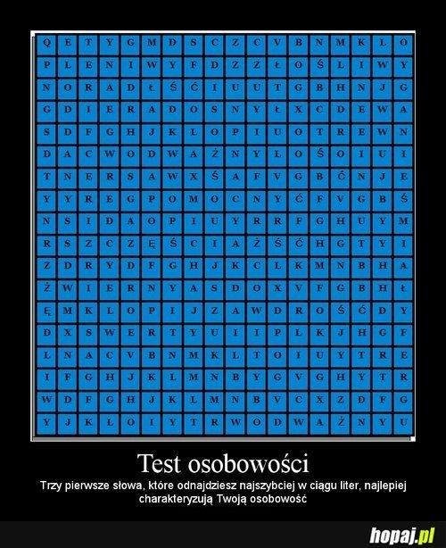 Test osobowości. Napiszcie Wasze wyniki!
