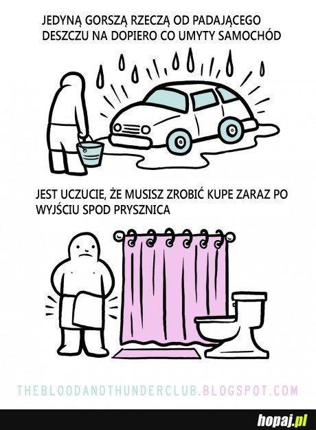 Co jest gorsze od deszczu po umyciu auta?