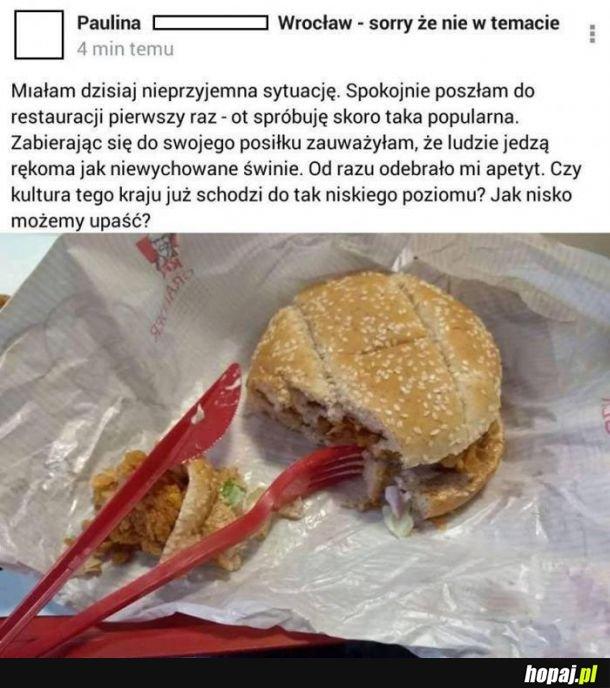 Burger rękami? Skandal