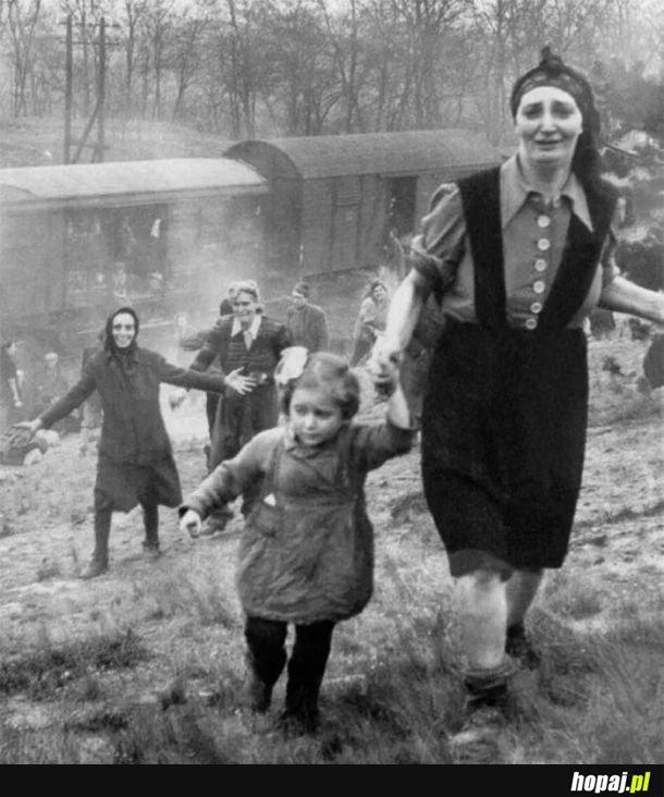Żydzi uratowani z pociągu śmierci, 1945 r.