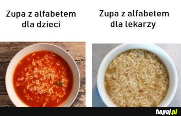 Zupa z alfabetem