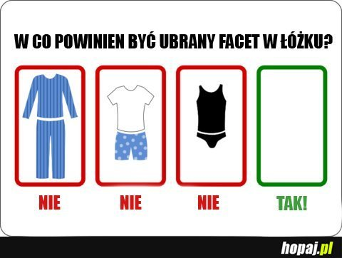 W co powinien być ubrany facet w łóżku ?