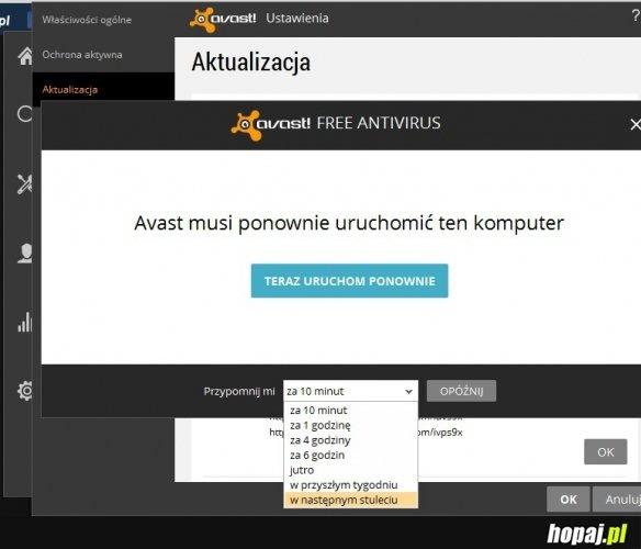 Avast  - ponownie uruchomienie